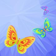 Butterflies Fly in the Sky, Low-Poly - stock illustration