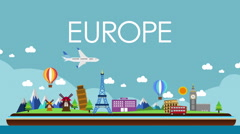 World map, Europe travel. Tour, , illustration animation, vacation. Stock Footage
