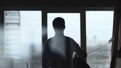 Man Dressed Suit Near The Window Stock Footage