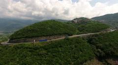 The Adriatic Highway is on near the Jaz beach. Montenegro Stock Footage
