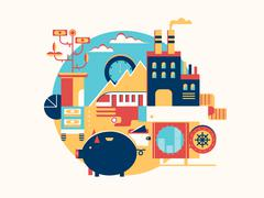 Investing in business icon flat Stock Illustration