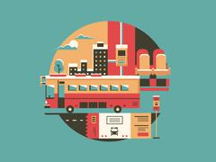 City bus conceptual icon Stock Illustration