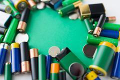 Close up of green alkaline batteries Stock Photos