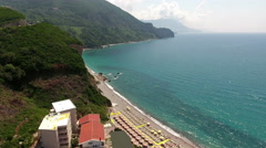 Hotel buildings are on Adriatic seashore on the Jaz beach. Montenegro Stock Footage