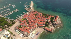 Castle of St Mary, fortification with red roofs. Budva, Adriatic sea, Montenegro Stock Footage