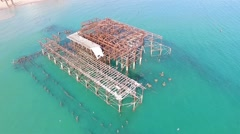 The West pier in Brighton, England Stock Footage