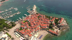 Castle of St Mary, fortification of old town of Budva city. - stock footage