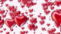 Flying red hearts on white - stock footage