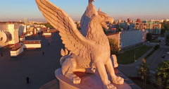 Sculpture of a Griffin on the roof. - stock footage