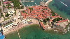 Old Town of Budva with Morgen beach on Adriatic sea. Montenegro Stock Footage