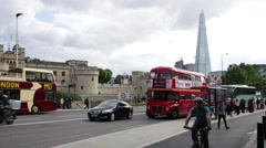 Shard and a traditional double decker bus in London - stock footage