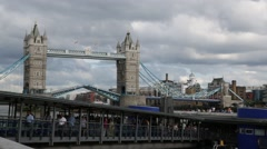 People leaving the boat at the Tower Bridge in London Stock Footage