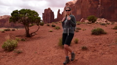 Monument Valley Totem Pole Girl Hiker Stock Footage