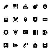 Crime, Security and Defense Vector Icons Pack Stock Illustration