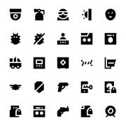 Crime, Security and Defense Vector Icons Set Stock Illustration