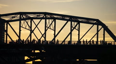 Nashville Foot Bridge People Cross to See Country MusicAwards Stock Footage