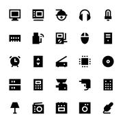Electronics and Devices Vector Icons Set Stock Illustration