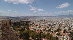 A slow pan of the city from the Acropolis of Athens, Greece Stock Footage