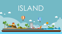 World map, Island travel. Beach Tour, illustration animation, vacation. Stock Footage