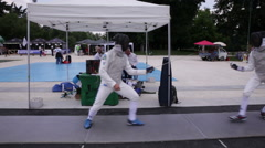 Fencing players in action - stock footage