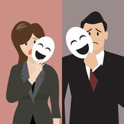 Fake business woman holding a smile mask Stock Illustration