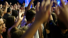 Crowd people teenager spectators fan clapping cheering by concert stage Stock Footage