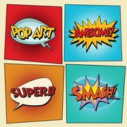 Set of retro comic bubbles pop art phrases Stock Illustration
