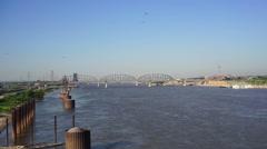 St Louis Missouri Downtown City Skyline Arch Gateway West Stock Footage