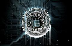 Circuit Board Projecting Bitcoin Stock Illustration