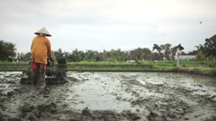 Tiller with tractor on rice field before seeding near Ubud, Bali Stock Footage