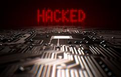 Circuit Board Hacked Text - stock illustration