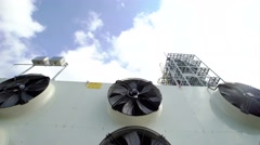 large industrial fans in a modern plant. shoot with slider - stock footage