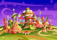 Mystery Wonderland. Fantastic Alien City. - stock illustration
