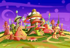 Mystery Wonderland. Fantastic Alien City. Stock Illustration