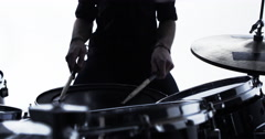 Close Up Of Drummer Playing Drum Solo In Studio Shot On R3D Stock Footage