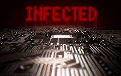 Circuit Board Infected Text - stock illustration