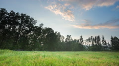 4k timelapse of foggy evening on meadow at summer. - stock footage