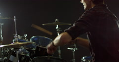 Drummer Playing Drum Kit Shot On R3D Stock Footage