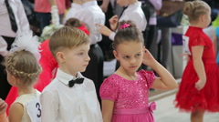 UKRAINE, TERNOPIL, MARCH 12, 2016: Close up little dancers on the contest - stock footage