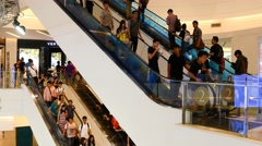 Escalator 4k shopping mall crowd people buy shop time lapse timelapse sale shops - stock footage