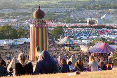 Glastonbury Festival from the Hill above the Park Stage 2015 Stock Photos