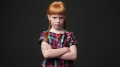 Sad ginger girl, she is looking displeased and offended Stock Footage