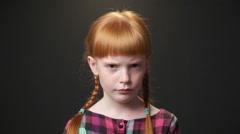 Close up sad ginger girl Stock Footage