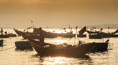 Camera Moves Removes Fishing Boat at Sunset in Vietnam Stock Footage