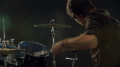 Slow Motion Sequence Of Drummer Playing Drum Kit Stock Footage