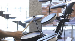 Play on an electronic drum Stock Footage