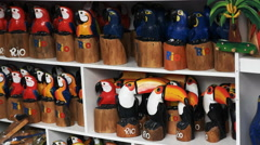 Carved wooden toucans and macaws in rio de janeiro Stock Footage