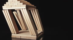 SLOW MOTION: A destruction of wooden house by earthquake - imitation Stock Footage