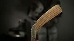 Taping hockey stick blade Stock Footage