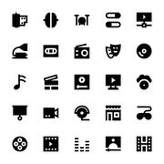 Music, Audio, Video, Cinema and Multimedia Vector Icons Pack - stock illustration